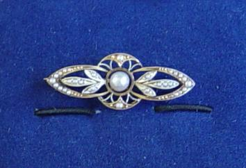 Vintage Pearl & Diamond Pin