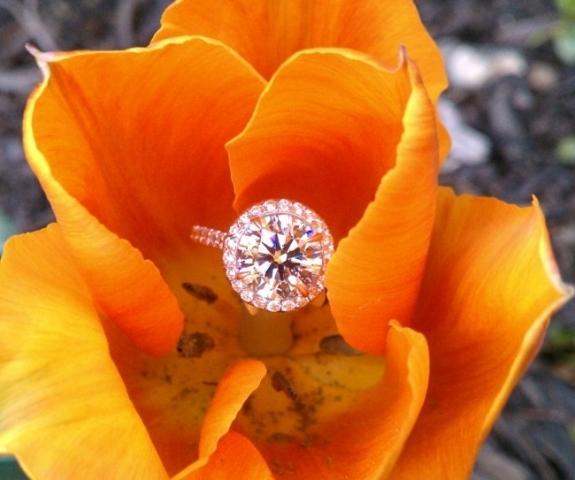 GOG Round Halo Engagement Ring