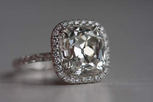 Antique Style Cushion Cut Diamond Ring