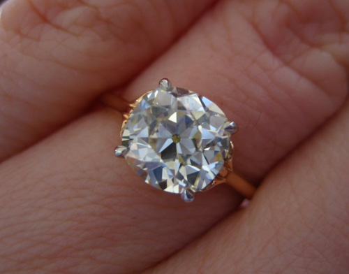 Old Mine Brilliant - Antique Cushion Cut diamond ring