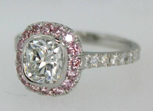 Pink diamond halo ring