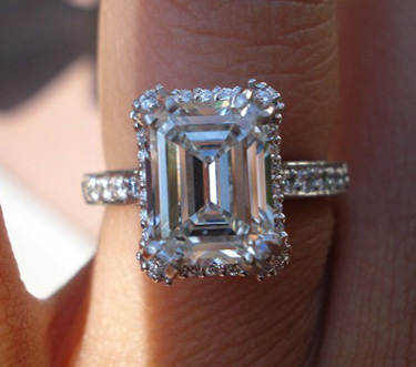 Platinum Tacori Emerald Cut Diamond Ring
