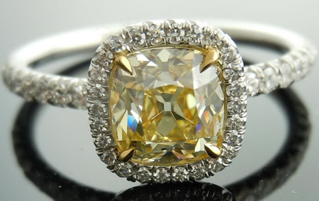 yellow cushion brownish fancy index ring c diamond gia jewelry