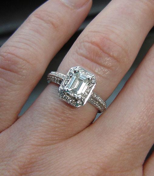 emerald cut engagement rings on finger wwwpixsharkcom