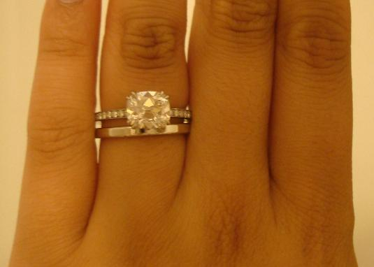 Pave Solitaire with Plain Wedding Band Pictures