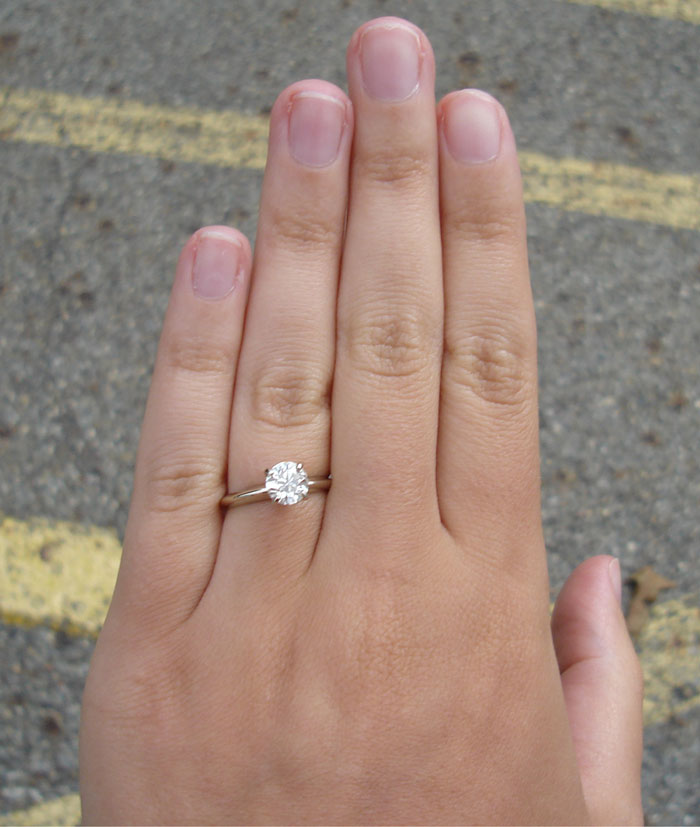 Image  1.5 Carat Diamond Ring On Finger