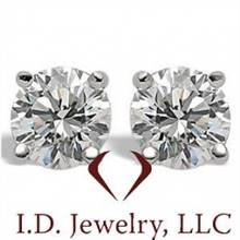 0.15CT H SI1 Martini Round Cut Diamond Stud Earrings 14K White Gold -IDJ015144 | I.D.Jewelry