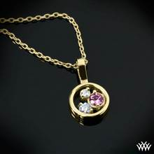 "0.15ctw 18k Yellow Gold Petite ""Dreams of Africa™"" Diamond Pendant (2 ACA melee & 1 Pink Sapphire) 