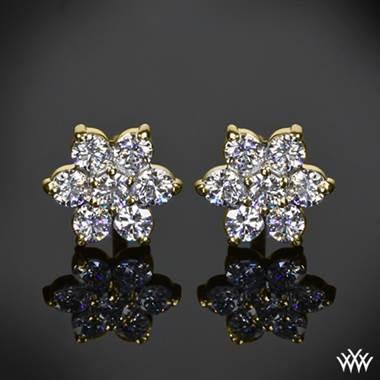 0 50ctw 14k Yellow Gold Flower Cer Diamond Earrings Meas 7 50mm