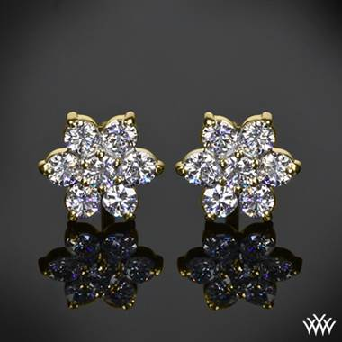 0 75ctw 14k Yellow Gold Flower Cer Diamond Earrings Meas 8 50mm