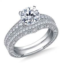 1 1/2 ct. tw. Engraved Pave Set Matching Diamond Engagement Ring with Wedding Band in 14K White Gold | B2C Jewels