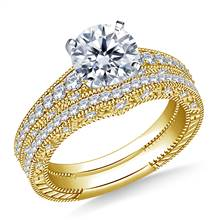 1 1/2 ct. tw. Engraved Pave Set Matching Diamond Engagement Ring with Wedding Band in 14K Yellow Gold | B2C Jewels