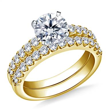 1 1/2 ct. tw. Prong Set Matching Diamond Engagement Ring and Wedding Band Set in 14K Yellow Gold