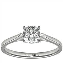 1 Carat Astor Cushion-Cut Petite Cathedral Solitaire in Platinum (H/SI2) Ready-to-Ship | Blue Nile