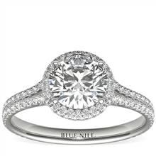 1 Carat Ready-to-Ship Blue Nile Studio Cambridge Halo Diamond Engagement Ring in Platinum | Blue Nile
