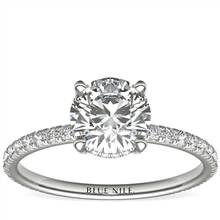 1 Carat Ready-to-Ship Blue Nile Studio Petite French Pave Crown Diamond Engagement Ring in Platinum | Blue Nile