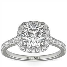 1 Carat Ready-to-Ship Cushion Halo Diamond Engagement Ring in Platinum | Blue Nile