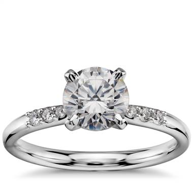 """1 Carat Ready-to-Ship Petite Diamond Engagement Ring in 14k White Gold"""