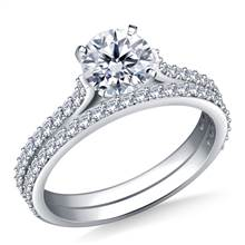 1.00 ct. tw. Cathedral Matching Diamond Engagement Ring and Wedding Band Set in 14K White Gold | B2C Jewels