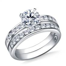 1.00 ct. tw. Channel Set Matching Diamond Engagement Ring and Wedding Band Set in 14K White Gold | B2C Jewels