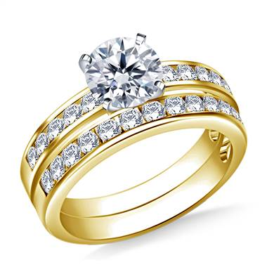 1.00 ct. tw. Channel Set Matching Diamond Engagement Ring and Wedding Band Set in 14K Yellow Gold