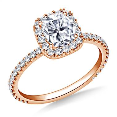 1.00 ct. tw. Cushion Cut Diamond Halo Engagement Ring in 14K Rose Gold
