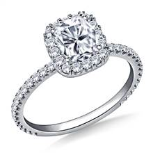 1.00 ct. tw. Cushion Cut Diamond Halo Engagement Ring in 14K White Gold | B2C Jewels