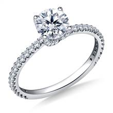 1.00 ct. tw. Diamond Swirl Style Engagement Ring with Prong Set Diamond in 14K White Gold | B2C Jewels