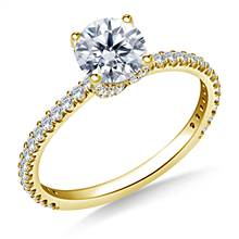1.00 ct. tw. Diamond Swirl Style Engagement Ring with Prong Set Diamond in 14K Yellow Gold | B2C Jewels
