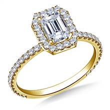 1.00 ct. tw. Emerald Cut Diamond Halo Engagement Ring in 14K Yellow Gold | B2C Jewels