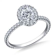 1.00 ct. tw. Oval Cut Diamond Halo Engagement Ring in 14K White Gold | B2C Jewels