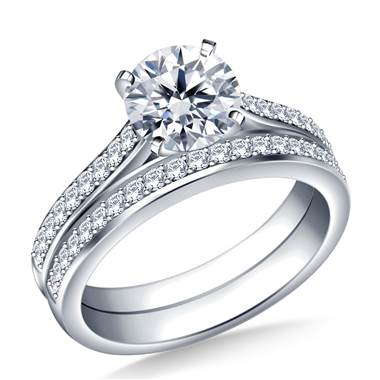 1.00 ct. tw. Pave Set Diamond Cathedral Engagement Ring and Matching Wedding Band Set in 14K White Gold