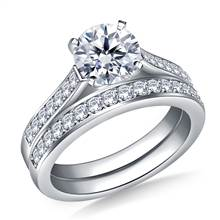 1.00 ct. tw. Pave Set Matching Diamond Cathedral Engagement Ring and Wedding Band Set in 14K White Gold | B2C Jewels