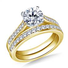 1.00 ct. tw. Pave Set Matching Diamond Cathedral Engagement Ring and Wedding Band Set in 14K Yellow Gold | B2C Jewels