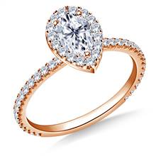 1.00 ct. tw. Pear Shaped Diamond Halo Engagement Ring in 14K Rose Gold | B2C Jewels