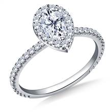 1.00 ct. tw. Pear Shaped Diamond Halo Engagement Ring in 14K White Gold | B2C Jewels