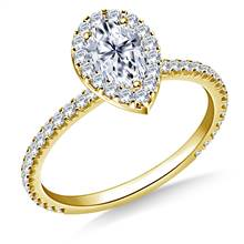 1.00 ct. tw. Pear Shaped Diamond Halo Engagement Ring in 14K Yellow Gold | B2C Jewels