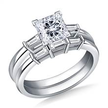 1.00 ct. tw. Princess and Baguette Matching Diamond Engagement Ring with Wedding Band in 14K White Gold | B2C Jewels