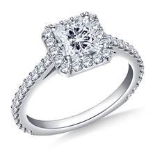 1.00 ct. tw. Princess Cut Diamond Halo Cathedral Engagement Ring in 14K White Gold | B2C Jewels