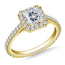 1.00 ct. tw. Princess Cut Diamond Halo Cathedral Engagement Ring in 14K Yellow Gold | B2C Jewels