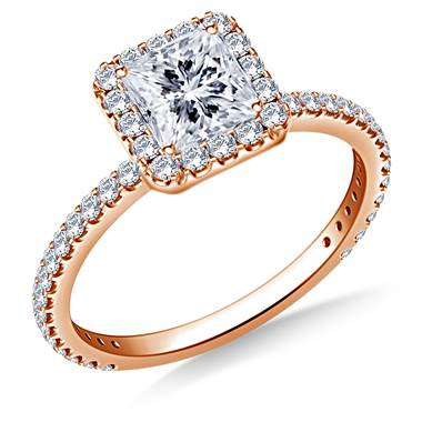 1.00 ct. tw. Princess Cut Diamond Halo Engagement Ring in 14K Rose Gold
