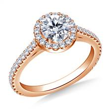 1.00 ct. tw. Round Brilliant Diamond Halo Cathedral Engagement Ring in 14K Rose Gold | B2C Jewels