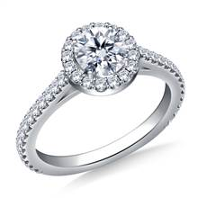 1.00 ct. tw. Round Brilliant Diamond Halo Cathedral Engagement Ring in 14K White Gold | B2C Jewels