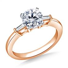 1.00 ct. tw. Round Diamond Engagement Ring with Tapered Baguettes in 14K Rose Gold   B2C Jewels
