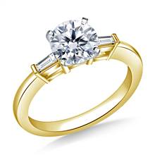 1.00 ct. tw. Round Diamond Engagement Ring with Tapered Baguettes in 14K Yellow Gold | B2C Jewels