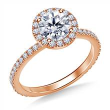 1.00 ct. tw. Round Diamond Halo Cathedral Engagement Ring in 14K Rose Gold | B2C Jewels