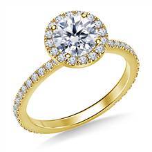 1.00 ct. tw. Round Diamond Halo Cathedral Engagement Ring in 14K Yellow Gold | B2C Jewels
