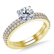 1.00 ct. tw. Split Prong Set Diamond Engagement Ring with Matching Wedding Band in 14K Yellow Gold | B2C Jewels