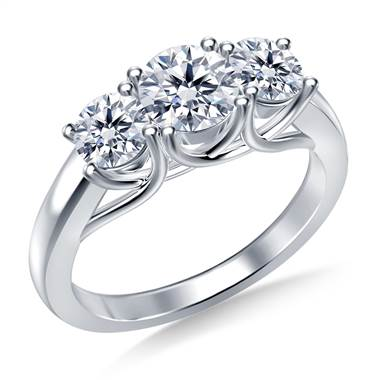 1.00 ct. tw. Three Stone Prong-Set Trellis Diamond Ring in 18K White Gold
