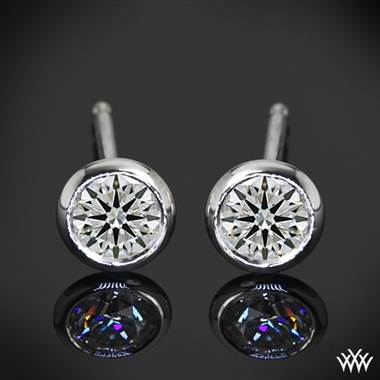 "1.00ctw 18k White Gold ""Handmade Full-Bezel"" Diamond Earrings - (H/I/SI)"